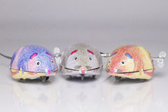 Three wind-up toy mice. Three wind-up tin toy mice Stock Images
