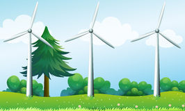 The three windmills above the hills. Illustration of the three windmills above the hills Royalty Free Stock Photography