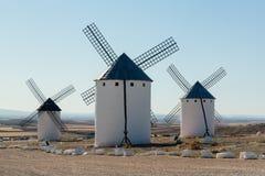Three windmills at Campo de Criptana La Mancha, Spain Stock Photography