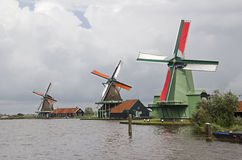Three Windmills in Holland Stock Photography