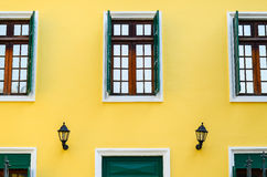 Three window balance and hotel detail Stock Photography