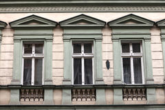 Three window of green building Royalty Free Stock Image