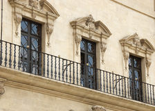 Three windows. Detail of three windows in palma Stock Photos