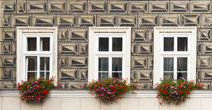 Three windows with flowers. Painted the wall of an old house in Krakow Stock Image