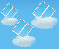 Three windows fly on clouds along sky Royalty Free Stock Photography
