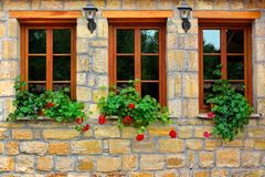 Three Windows in Old House Royalty Free Stock Photo