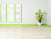 Three windows and a plant Royalty Free Stock Photos