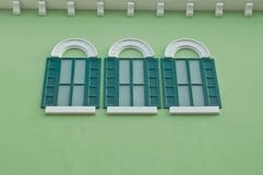 Three windows at the terrace Royalty Free Stock Image