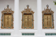 Three windows in the Thai temple Royalty Free Stock Photo