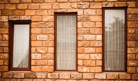 Three windows wall Stock Photo