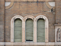 Three windows on the wall Royalty Free Stock Image