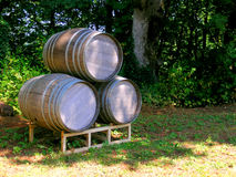 Three Wine Barrels Stock Photography