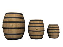 Three wine barrels - 3d render Royalty Free Stock Images