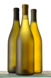 Three Wine Bottles. Three White wine Bottles close grouping isolated on white stock images