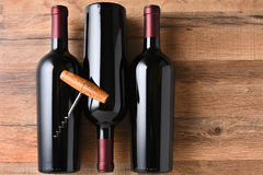 Three Wine Bottles Corkscrew Stock Photo