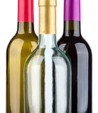 Three wine bottles isolated on white background Royalty Free Stock Image