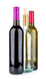 Three wine bottles isolated on white background Royalty Free Stock Photo