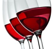 Three wine glasses. A set of three wine glasses with red wine Stock Photography