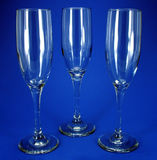 Three wine Glasses. On a blue background Stock Image