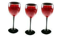 Three wine glasses Stock Photos