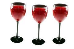 Three wine glasses Stock Photos