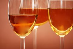 Three wine glasses on the bieg Royalty Free Stock Photos