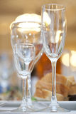 Three wine glasses  on fancy table set Stock Photography