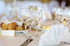 Three wine glasses on a festive table Royalty Free Stock Photo