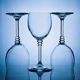 Three wineglasses in a row Stock Photography