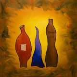 Three wines. Original oil painting of the wines Stock Photos