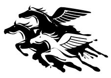 Three winged horses Stock Photos