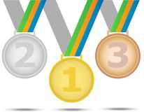 Three winners medals - from gold silver and bronze. Illustration on white background. Three winners medals - from gold silver and bronze. Illustration on white Royalty Free Stock Photos