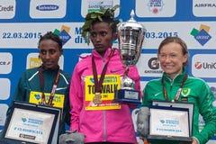 The three winners of the women's race of the 21th Rome Marathon. Stock Image