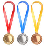 Three winning places concept. Medals with Ribbon Stock Images