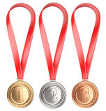 Three winning places concept. Medals with Ribbon Stock Photos