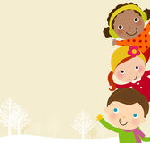 Three winter children and frame Royalty Free Stock Images