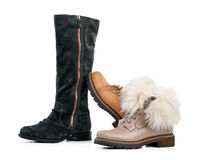 Three winter female boots over white Stock Images