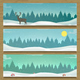 Three winter landscape banners. Stock Images