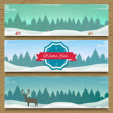 Three winter landscape banners. Winter background. New Year 2016. Vector illustration Stock Photo