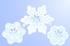 Three winter  snowflake smile Stock Photos