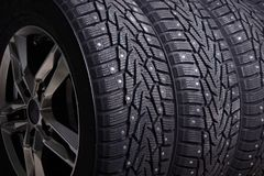 Three Winter Tires Royalty Free Stock Photography