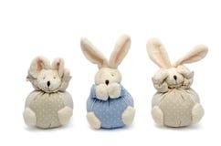 Three Wise Bunnies. Hear no evil, speak no evil, see no evil Royalty Free Stock Photo