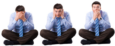 Three wise businessman that they did not hear, speak and see. Royalty Free Stock Photo