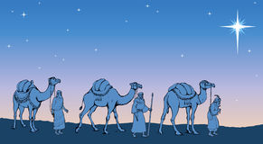 Three Wise kings following the Star of Bethlehem. Vector illustr Royalty Free Stock Images