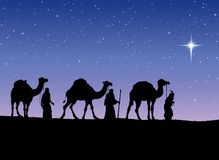 Three Wise kings following Star of Bethlehem. Vector illustratio. Three old orient Magi following east comet leading to new born holy baby Jesus Christ in Royalty Free Stock Photos