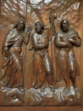 The three wise man. The biblical story - the Three Wise Man (Magi or Kings), copper sculpture at the gate of a medieval church in Venice, Italy Stock Images