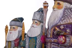 Three wise men. Hand painted wooden figurines of the three wise men Stock Photos