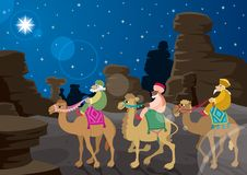 Three Wise Men. The three wise mеn on their camels, following the Star of Bethlehem across the desert Royalty Free Stock Image