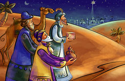Three Wise Men. With a camel on the way to Bethlehem, guided by the star Stock Photos