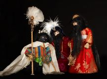 Three wise men. With their gifts, figures of the christmas stable, handmade by a teenager Stock Photography